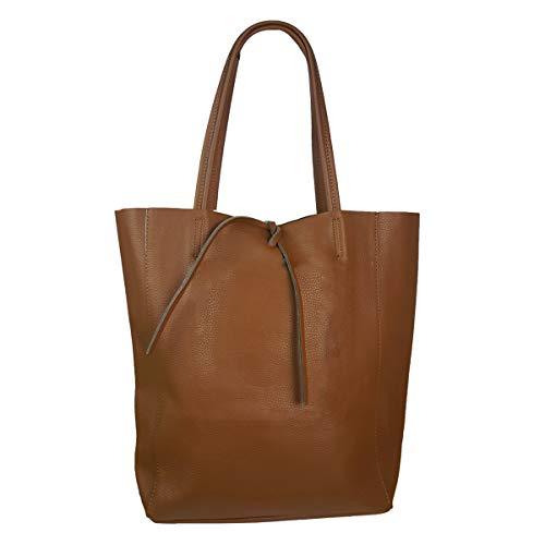 Freyday Damen Echtleder Shopper mit Innentasche in vielen Farben Schultertasche Henkeltasche Metallic look (Braun)