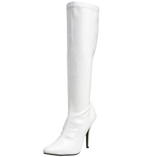 Pleaser SEDUCE-2000, Damen Langschaft Stiefel, Weiß (Weiss (Wht Str Pat)), 45 EU (13 Damen UK)