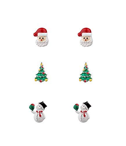 SIX 3er Set weihnachtliche Ohrringe mit Schneemann-Motiv (532-120)