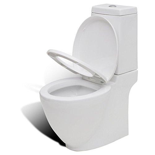 Festnight Keramik WC Stand-Toilette Stand-WC Bodenstehend Toilette inkl. Soft Close WC Sitz für Badezimmer - Weiß