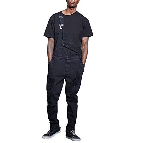 FRAUIT Herren Latzhose Schwarz Denim Overall Schutz Trägerhose Jumpsuit Jeans Latzhose Lange Jeanshose Retro Mit Tasche Skinny Fit Streetwear