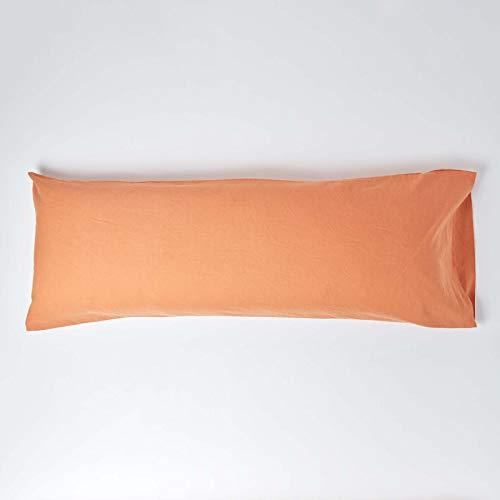 Homescapes - Funda de almohada de lino suave con textura de lino francés natural y puro 100% mezcla de algodón, 136 cm de largo, 60% lino, 40% algodón., Naranja, Body (19 x 54' / 48 x 136 cm)