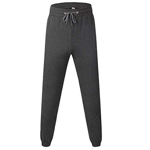 Pantalones de chándal para mujer, pantalones de chándal para mujer, pantalones de chándal de cintura alta, pantalones de jogging para mujer, color gris, con bolsillos y cordón Gris oscuro-1. M