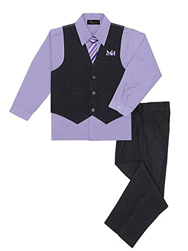 Boy's Vest and Pant Set, Includes Shirt, Tie and Hanky - LILAC 4T
