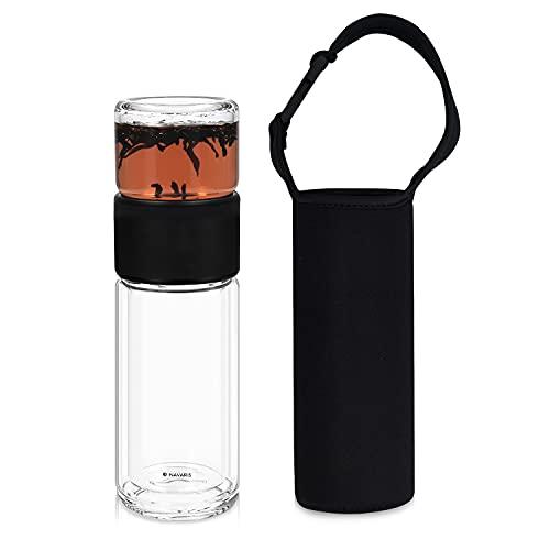 Navaris Borraccia con Infusore 240ml - Teiera To Go per tè e Tisane - Bottiglia Termica in Vetro Borosilicato con Chiusura Ermetica per Trasporto