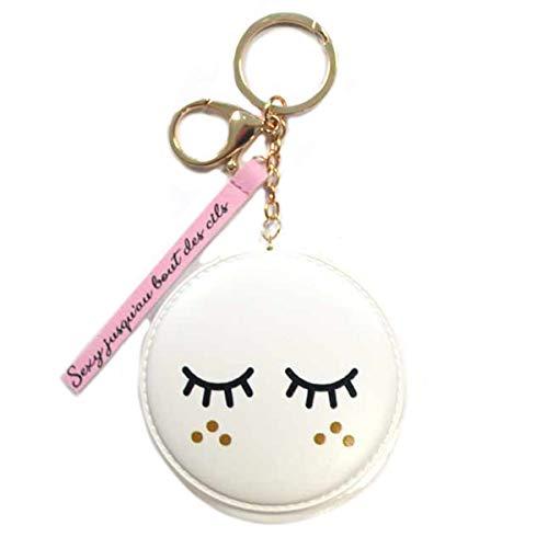 Les Trésors De Lily [Q7078] - Porte-clés/Miroir de poche 'Diva - Yeux Endormis' blanc (Sexy jusqu'au bout des cils) - 8 cm
