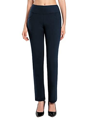 MOVE BEYOND Suave como la Mantequilla Pantalones de Yoga de Pierna Recta para Mujer con 4 Bolsillos Pantalones de Entrenamiento para el Control de la Barriga, Azul, M