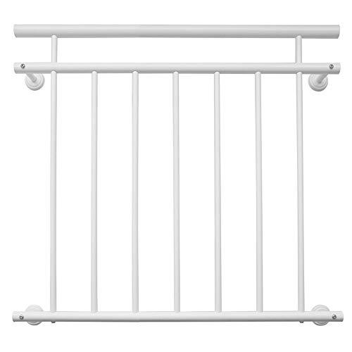 V2Aox Französischer Balkon Geländer Balkongeländer 90 x 100-225 cm Schwarz Weiß Anthrazit, Farbe:Weiß, Größe:184 x 90 cm