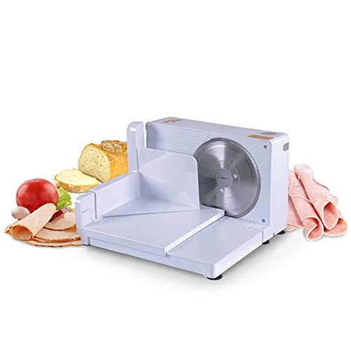 SuperHandy Meat Slicer Electric Food Deli Bread Cheese Portable Collapsible 6.7' inch Stainless Steel RSG Solingen Blade