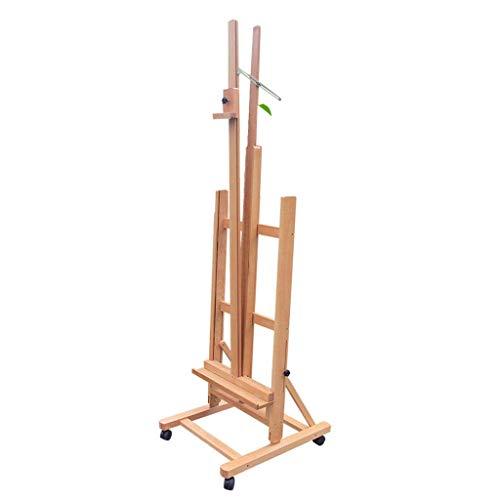 Staffelei, fahrbar mit Bremsskizzenständer, Klapp- und Hebebühne Professional, Holzfarbe