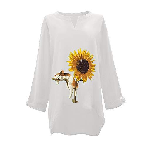MRURIC Damen Bluse Lose Leinenbluse, Elegant Shirt mit Schmetterling Aufdruck, Frauen Blumen Druck Blusen Hemd, Summer Retro Tunika Casual Oversize Langarmshirt Tops Oberteil