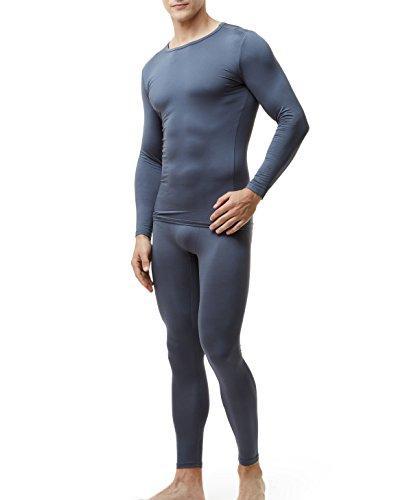 TSLA Blank Men's Thermal Microfiber Soft Fleece Long Johns Top & Bottom Set, Thermal Fleece(mhs100) - Dark Grey, Medium