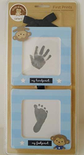 Carter's Child of Mine First Prints Kit Handprint Footprint 2 Blue Frames Monkeys