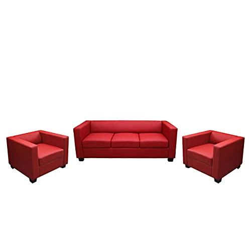 Mendler 3-1-1 Sofagarnitur Couchgarnitur Loungesofa Lille Leder - rot