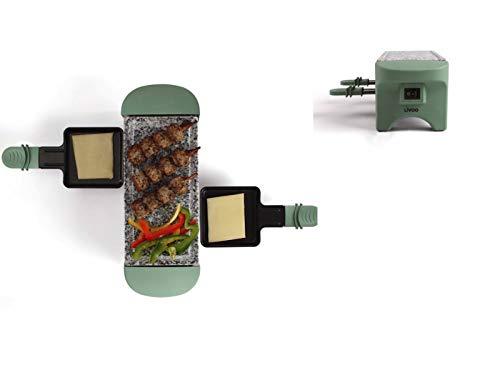 Raclette Grill 2 Personen Grillplatte Tischgrill Elektrogrill Heißer Stein (2 Pfännchen, Antihaftbeschichtung, Türkis)