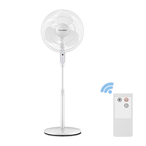PELONIS 3-Speed Oscillating 7-Hour Timer, Remote Control and Adjustable in Height, FS40-16JR, 16 Inch, 16-inch Pedestal Fan White