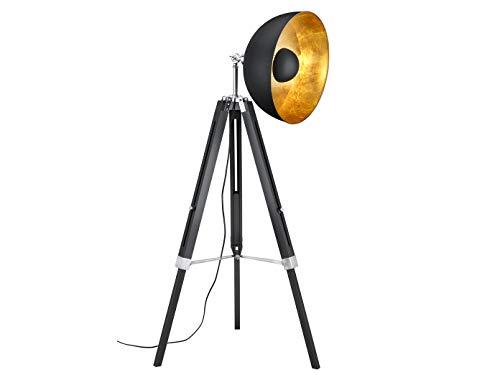 Lampadaire rétro à trois pieds avec réflecteur orientable en métal noir/doré - Trépied en bois noir réglable en hauteur - Avec ampoule LED E27