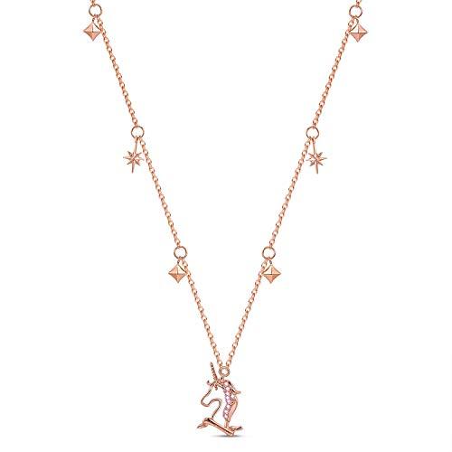 FANCIME Collar de gota de unicornio de plata de ley 925 chapado en oro blanco, colgante con circonita cúbica, regalo original de joyería fina para mujer