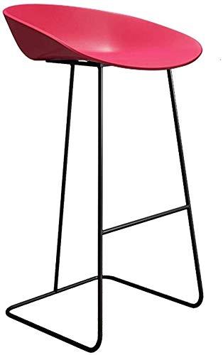 Barkruk, moderne barkruk met PP-zitting en metalen frame, ontbijtrug, barstoel, roze, afmetingen: zithoogte: 25,6 inch