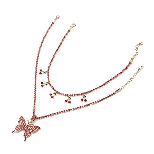 ZYLL Collar de Cereza de Cristal Gargantilla de Cadena de Diamantes de imitación para Mujer Collares Pendientes de Mariposa Moda Joyería de Frutas Dulces Regalo del día de la Madre