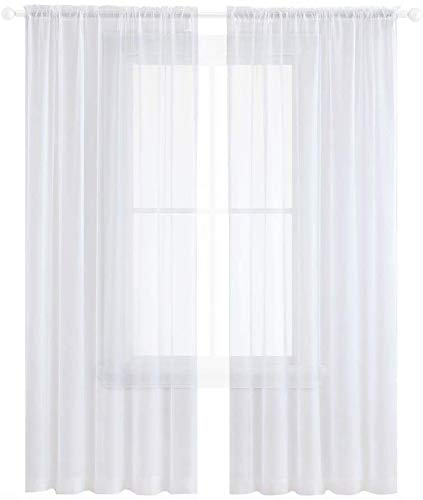 Anjee White Sheer Curtains 96 inches Length 2 Panels Rod Pocket Voile Curtain Semi Sheer Curtain for Bedroom Living Room Dining Room 52 x 96 Inches, White