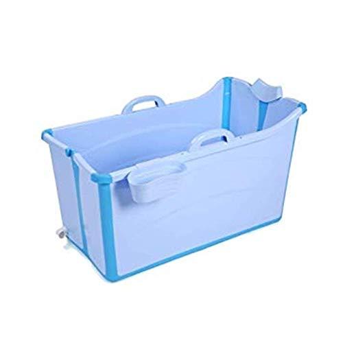 CESULIS Plegable Montaje Bañera, bañera Plegable for Adultos bañera de bebé de plástico bañera Piscina del hogar Grande bañera portátil (Color: Azul) Impermeable Familiar