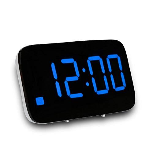 FPRW Digitale LED-wekker, LED-display, elektrische stembediening, nachtkastje met achtergrondverlichting en sluimerfunctie, blauw