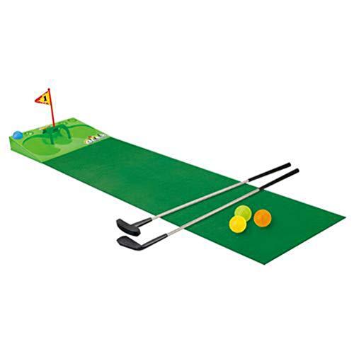 taianle Juguete de Golf para Niños Juego de Alfombrillas de Césped para Golf Juego de Palos de Golf con Alfombra para Golpear Accesorio de Entrenamiento de Golf con 2 Putters 4 Pelotas
