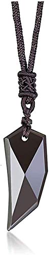 banbeitaotao Collar obsidiana Colgante de Diente de Lobo Vintage Spike Amuleto Piedras Collares para Wowith Cadena de Cuerda Ajustable Punk Collier