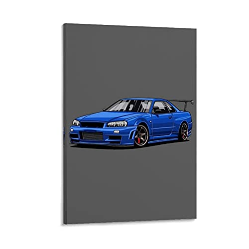 JUEDIN Hermoso póster azul deportivo para coche, dormitorio, pared de 60 x 90 cm