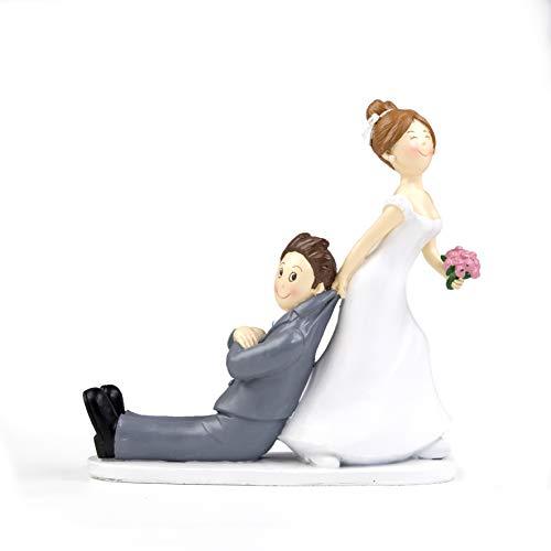 Mopec Y967 Figurine pour gâteau de Mariage Motif mariée tirant Le marié par la Veste 19cm