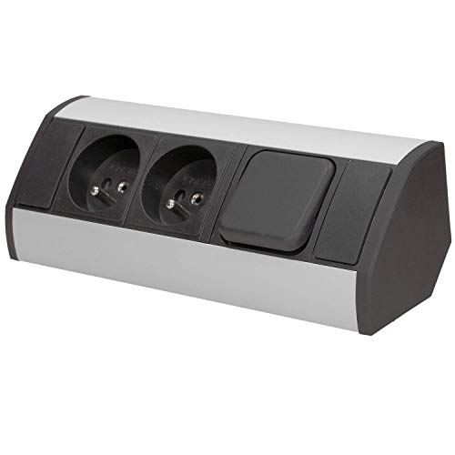 Orno OR-GM-9002/B-G - Regleta de 2 enchufes con Interruptor y protección para niños, Ideal para Cocina, Oficina y encimera, Montaje en 45°, 3680 W, Enchufe estándar: francés (Tipo E), Color Gris