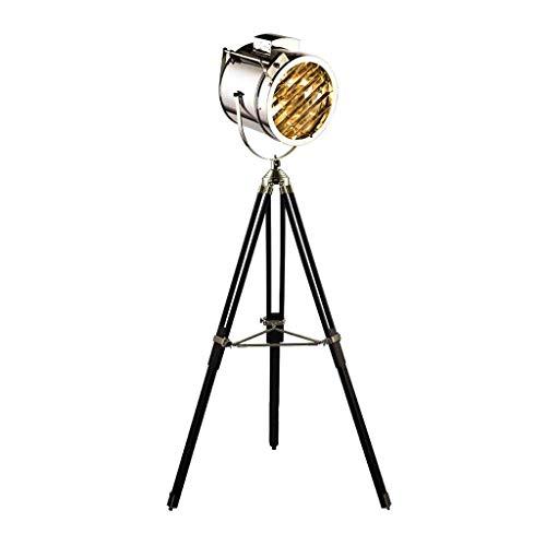 Lampada da terra Bella elegante Vintage Retro Photography Studio cinematografico Stile regolabile Treppiede Lampada da terra In un acero nero Legno e lucido Cromato Design Lampada vetrina