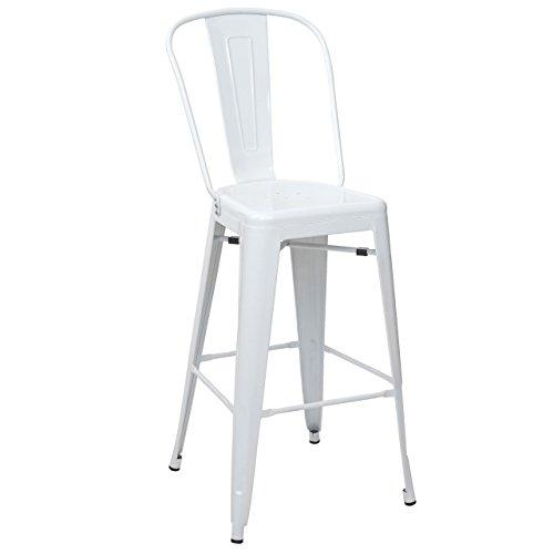 Mendler Tabouret de Bar HWC-A73, Chaise de comptoir avec Dossier, métal, Design Industriel - Blanc