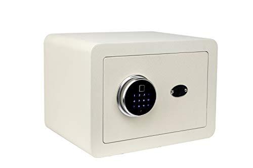 Golval EF25 Sicherheitssafe aus Stahl, biometrischer Fingerabdruck, Schnellzugriff, Tresor mit neuartigem Tastenfeld-Modul, breit, massiver Stahl-Safe für Bargeld, Schmuck, Waffen, Wertsachen (weiß)