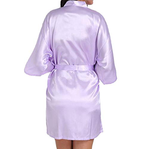 Weding Novia Dama De Honor Clásico Túnica Boda Kimono Túnica Satén Vestido De Seda Elegante Ropa De Moda (Color : Hell Lila, One Size : Bridesmaid)