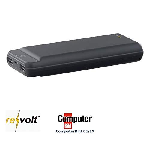 revolt Banco de energía por teléfono móvil: Banco de energía USB en diseño Delgado, 20000 mAh, 2 Puertos USB, 2,1 A, 10,5 W (TV Paquete de baterías)