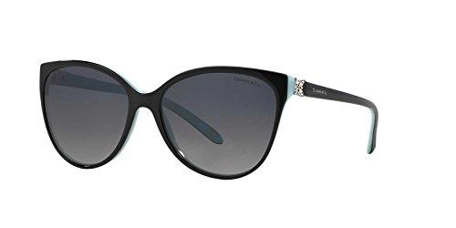 TIFFANY & CO. TF4089B - 8055T3 Sunglasses Black/ Turquoise Silver w/ Grey...