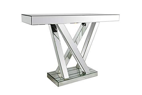SalesFever Konsolentisch Poppy | Flurtisch aus MDF Holz | Oberflächen verspiegelt aus Glas | Beistelltisch rechteckig | Silber-farbig | Futuristisches Design