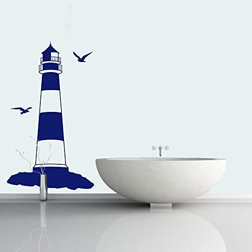 Tianpengyuanshuai Faro señal Etiqueta de la Pared náutico océano Playa Vinilo Pared Pegatina baño Aseo Sala hogar Pared Pegatina 40X68cm
