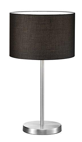 lightling modern Hockerleuchte in nickel matt, Stoffschirm schwarz, 1 x E27 max. 60W, ø 30 cm, Höhe: 55 cm