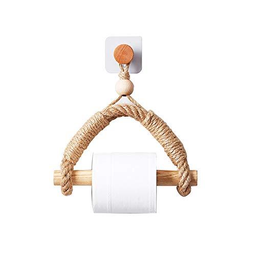 AGQH Cuerda de cáñamo Porta Toallas de Papel Autoadhesivo, Antiguo Soporte de Pared sin Punzones Toallero de Papel para la decoración de baños y cocinas