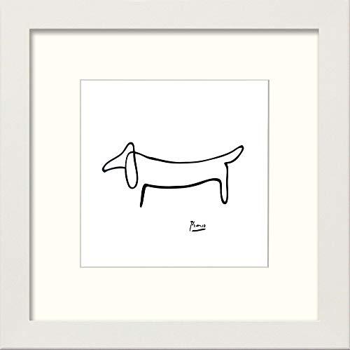 L Lumartos Vintage Poster Picasso Hund modern Home Decor Wall Art Print, Weiß, 25,4 x 25,4 cm