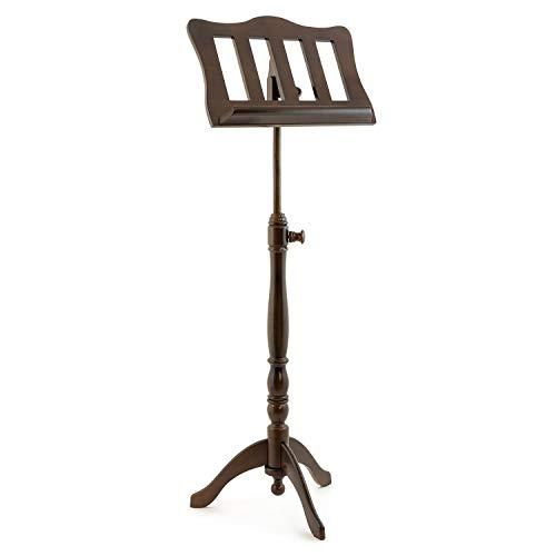 Atril de partituras de madera de nogal estilo barroco Theodore - Atril de partituras ajustable en madera con acabado de nogal