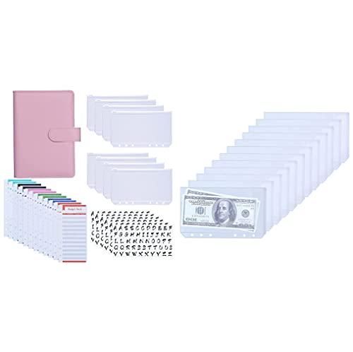 Antner A6 PU Leather Binder Expense Budget Sheets Letter Sticker Labels Cash Envelopes System (Pink) Bundle   12pcs A6 Binder Pockets No Zipper Design