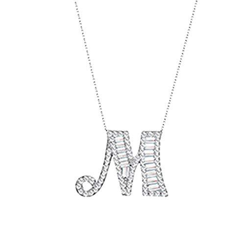 Yowablo Kettenanhänger Diamant Halskette Frauen Alphabet Halskette Weibliches einfaches Schlüsselbein (M)