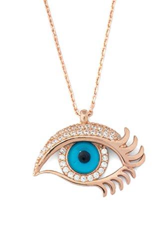 Remi Bijou 925 Silber Ausgefallene Halskette mit Anhänger - Blaues Auge mit Träne, ColorName:Rosegold