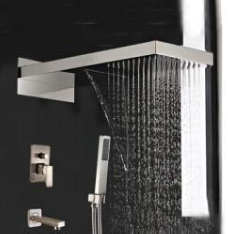 Luxus 3 Mglichkeiten Wasserfall Dusche Wasserhahn Set Nickel gebürstet Wanne Auslauf Handbrause, klar