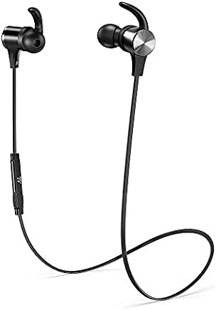 Wireless Bluetooth Headphones, TaoTronics Bluetooth 5.0 Workout Headphones aptX Stereo with Up to 9 Hrs Playtime IPX7 Sweatproof cVc 8.0 Built in Mic Magnetic Secure Fit for Running Gym Travelling