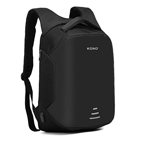 Kono Travel Laptop Backpack,Business Anti-Theft Work Computer Rucksack with USB Charging Port,Water Resistant Casual Daypack Large College High School Bag,Fits 15.6 Inch Laptop (Black)